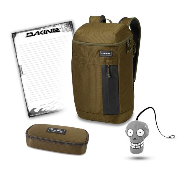 Dakine Concourse 25L + School Case + Harry + Block Schulset Dark Olive Dobby