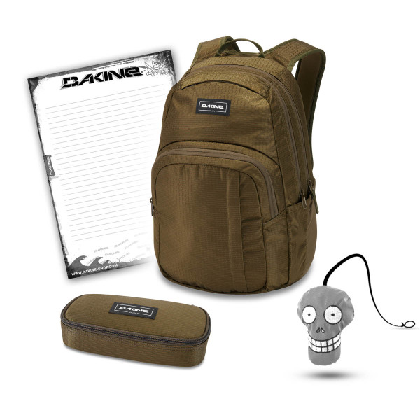Dakine Campus M 25L + School Case + Harry + Block Schulset Dark Olive Dobby