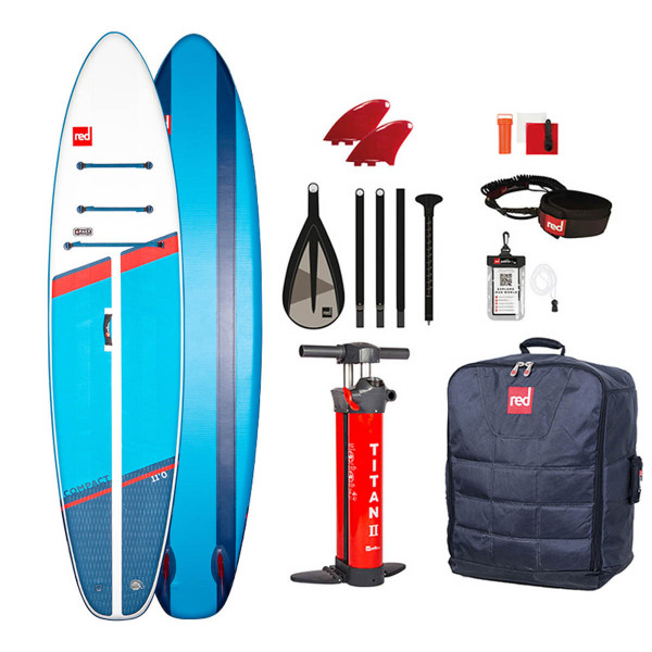 RED SUP Set COMPACT 11`0'' x 32'' x 4,7'' + Carbon 100-Nylon 5pc Paddel LeverLock + Coiled Leash