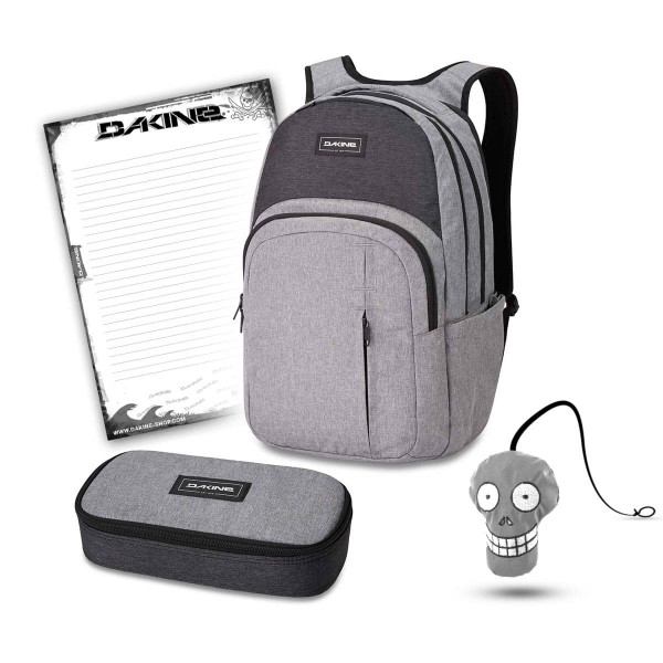 Dakine Campus Premium 28L + School Case XL + Harry + Block Schulset Greyscale