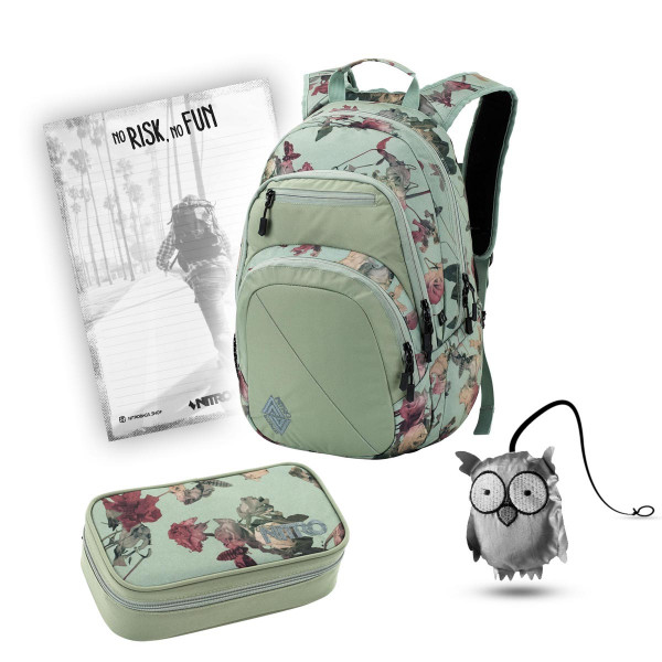 Nitro Stash Rucksack 29L + Nitro Pencil Case XL + Emma + Block Schulset Dead Flower