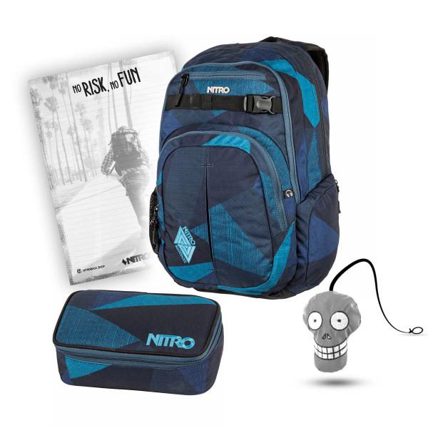 Nitro Chase Rucksack 35L + Pencil Case XL + Harry + Block Schulset Fragments Blue