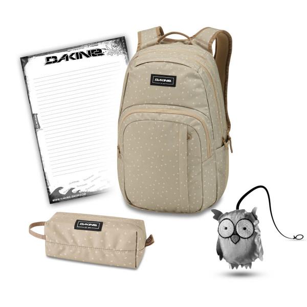 Dakine Campus M 25L + Accessory Case + Emma + Block Schulset Mini Dash Barley
