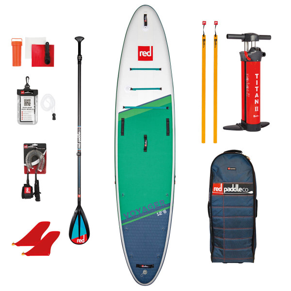 RED SUP Set VOYAGER 12'6'' x 32'' x 6'' MSL + Carbon 50-Nylon 3pc Paddel CamLock + Coiled Leash