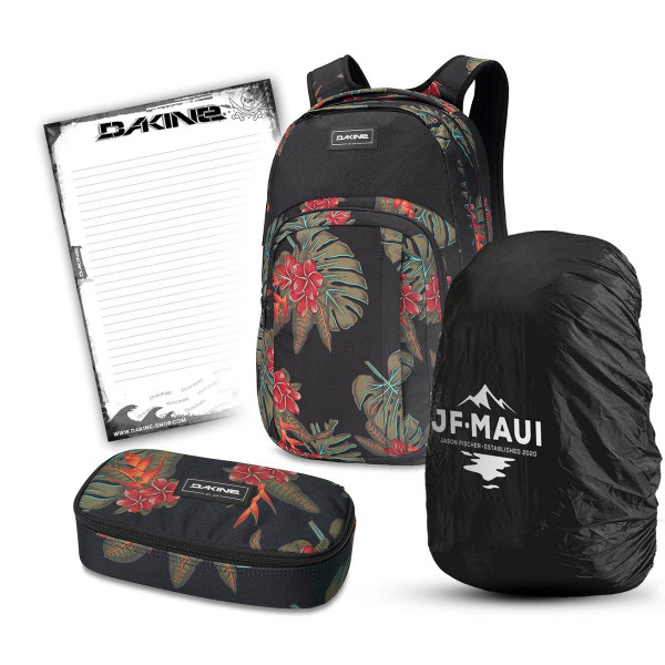 Dakine Campus L 33L + School Case XL + Rain Cover + Block Schulset Jungle Palm