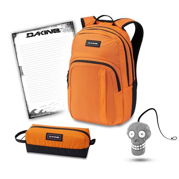 Dakine Campus M 25L + Accessory Case + Harry + Block Schulset Orange