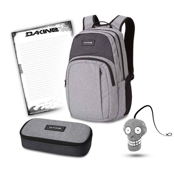 Dakine Campus M 25L + School Case XL + Harry + Block Schulset Greyscale