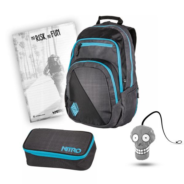 Nitro Stash Rucksack 29L + Nitro Pencil Case XL + Harry + Block Schulset Blur Blue Trims