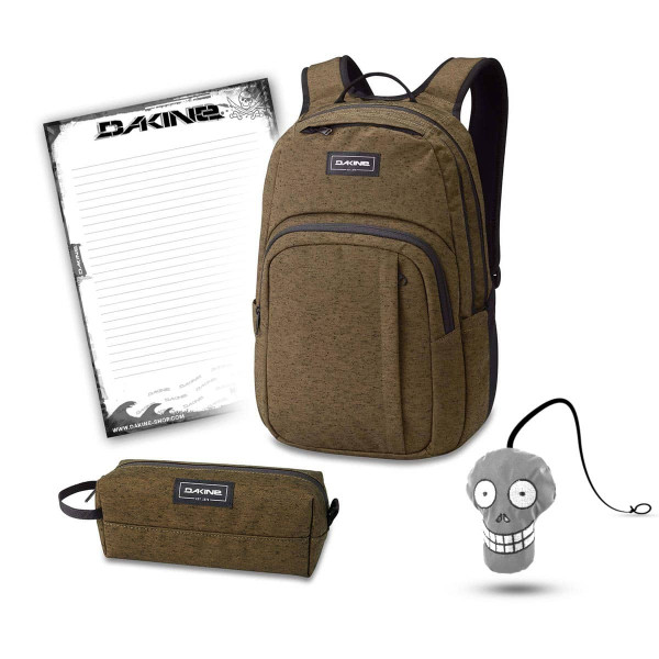 Dakine Campus M 25L + Accessory Case + Harry + Block Schulset Dark Olive