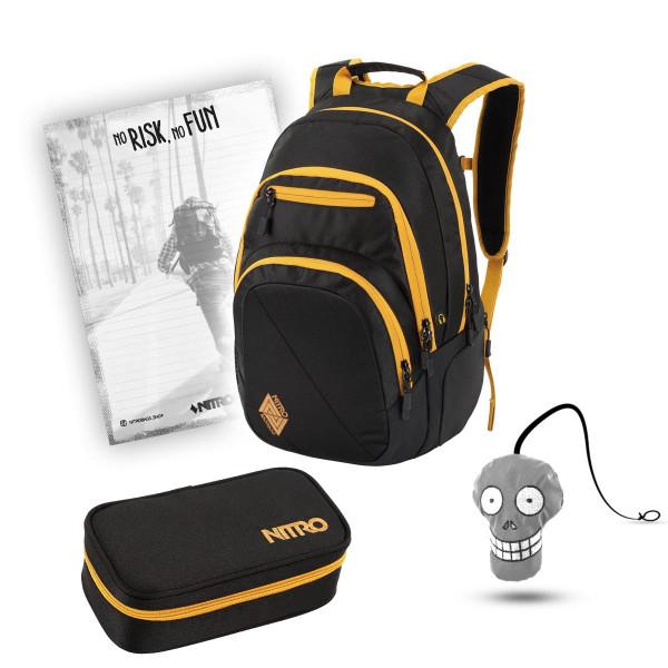 Nitro Stash Rucksack 29L + Nitro Pencil Case XL + Harry + Block Schulset Golden Black