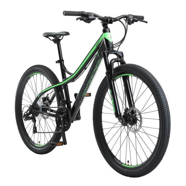 BIKESTAR Mountainbike Shimano, 21 Gang, Scheibenbremse, 17 Zoll Rahmen, Schwarz/Grün