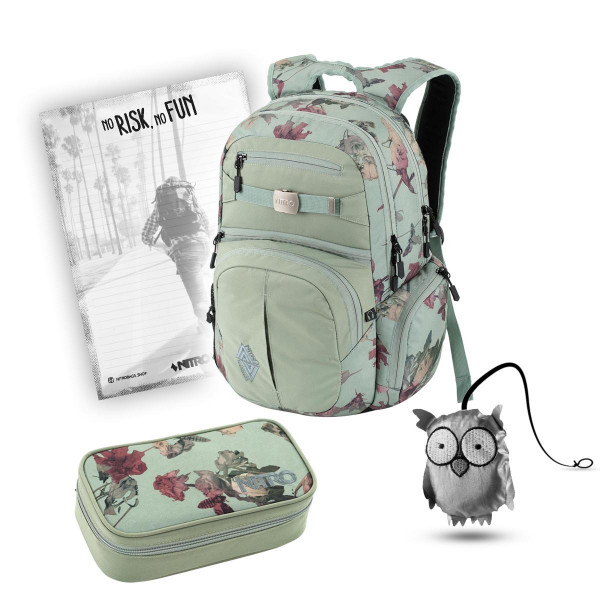 Nitro Hero Rucksack 37L + Nitro Pencil Case XL + Emma + Block Schulset Dead Flower