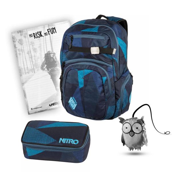 Nitro Hero Rucksack 37L + Nitro Pencil Case XL + Emma + Block Schulset Fragments Blue