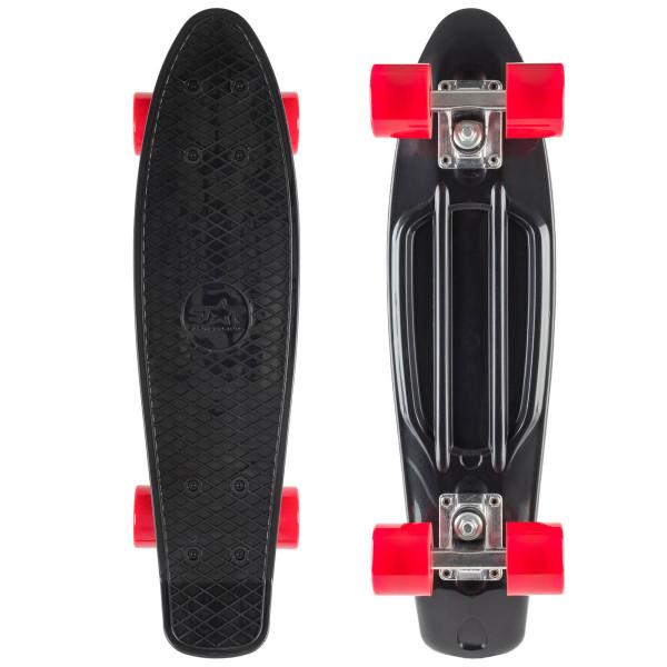 STAR-SKATEBOARDS Vintage Retro Cruiser Skateboard, ab 6 - 8 Jahre, Schwarz + Rot
