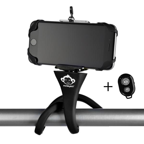 Monkeystick Freihändiger Selfie Stick Handyhalterung inkl. Bluetooth-Fernbedienung Black