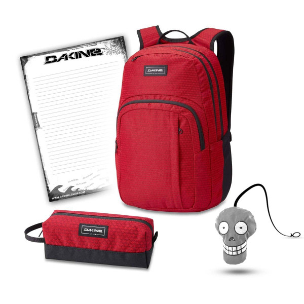 Dakine Campus M 25L + Accessory Case + Harry + Block Schulset Crimson Red