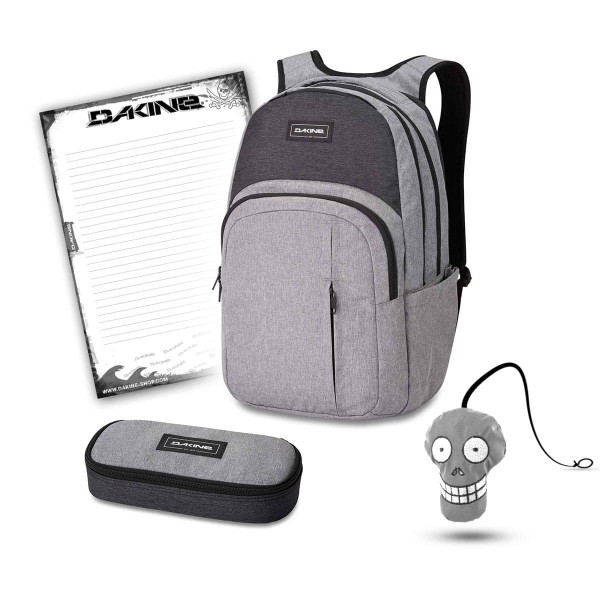 Dakine Campus Premium 28L + School Case + Harry + Block Schulset Greyscale