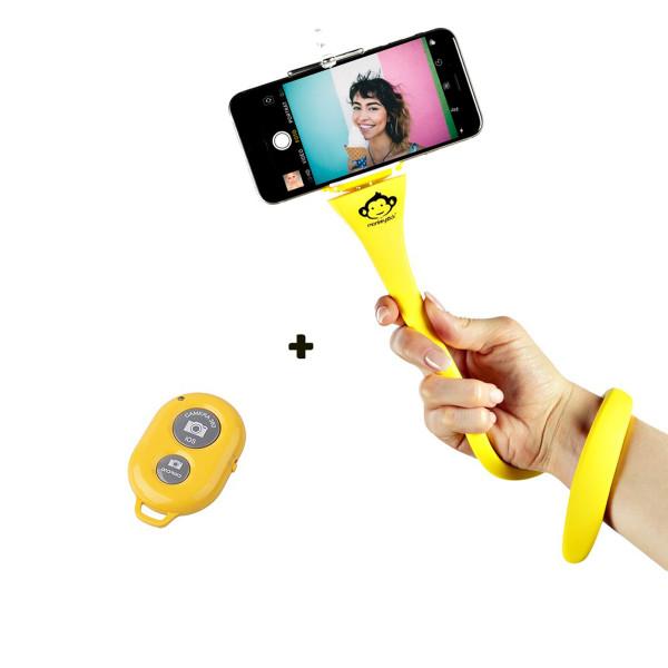 Monkeystick Freihändige Selfie Stick Handyhalterung inkl. Bluetooth-Fernbedienung Yellow