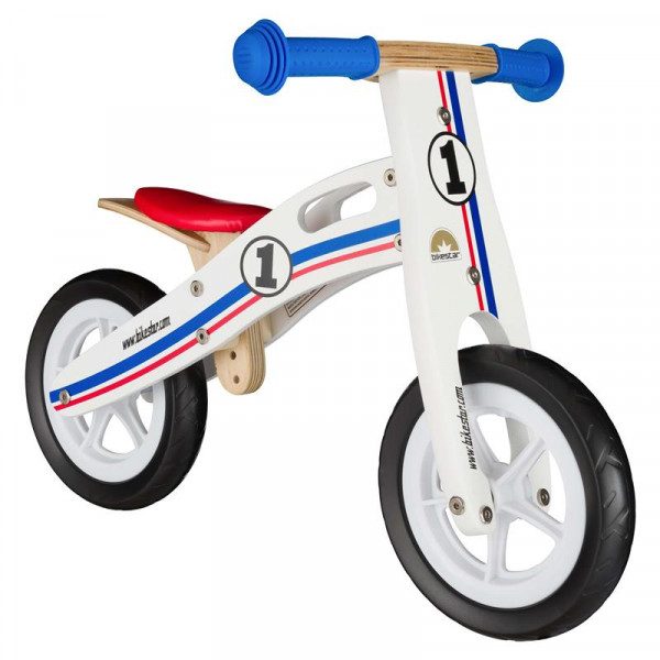 BIKESTAR Kinder Laufrad Holz Weiß Blau Rot ab 2 Jahre - 10 Zoll