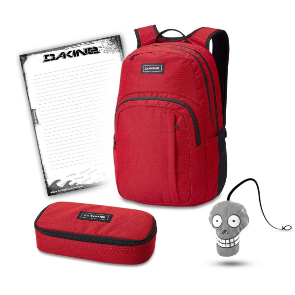 Dakine Campus M 25L + School Case XL + Harry + Block Schulset Crimson Red