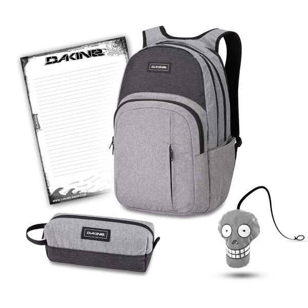 Dakine Campus Premium 28L + Accessory Case + Harry + Block Schulset Greyscale