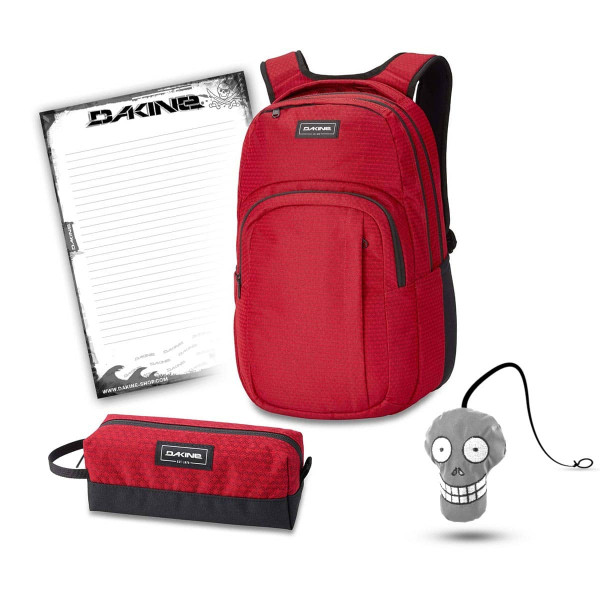 Dakine Campus L 33L + Accessory Case + Harry + Block Schulset Crimson Red