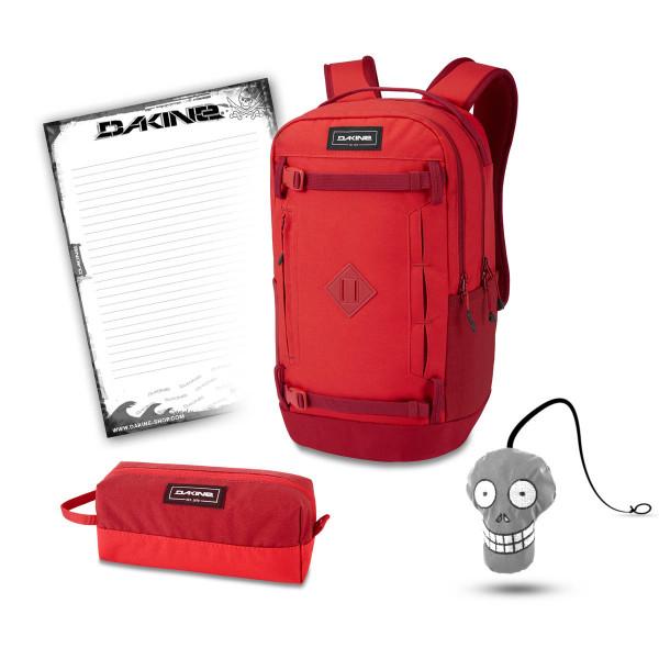 Dakine URBN Mission Pack 23L + Accessory Case + Harry + Block Schulset Deep Crimson