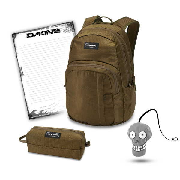 Dakine Campus M 25L + Accessory Case + Harry + Block Schulset Dark Olive Dobby