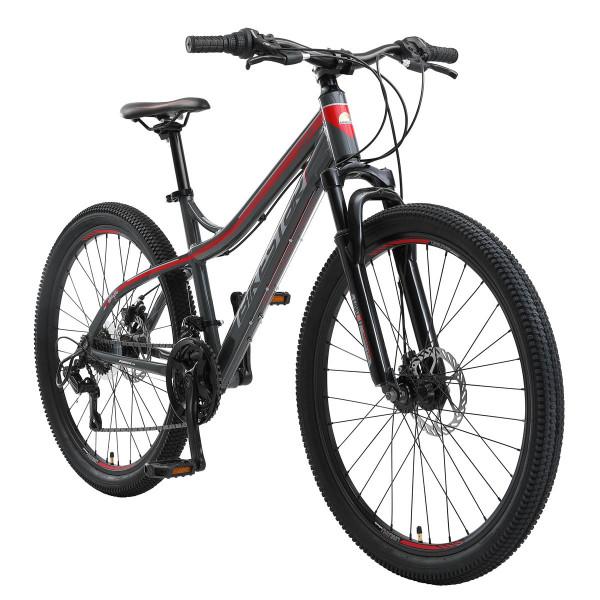 BIKESTAR Mountainbike, Shimano 21 Gang, Scheibenbremse, 16 Zoll Rahmen, Grau/Rot